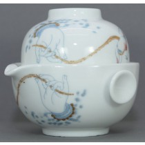 Easy Gaiwan white 150ml Gong Fu Style Buddha's Hand and Lotus